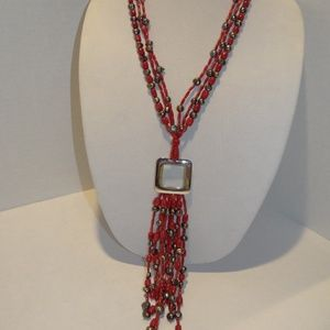 JK 3-Strand Red Coral & Gray Pearl Buckle Necklace